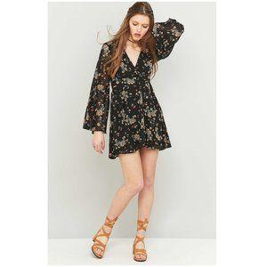 Free People Lilou Black Floral Chiffon Dress